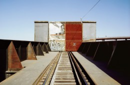 Railroad Crossing at Mexico-U.S border.  Juarez, Mexico, 20 Dec '04